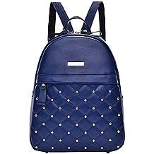 YAANCUN Mujeres Pequeño Remache Pu Cuero Backpack Mochilas Escolares Mochila Escolar Casual Bolsa Viaje Moda Color Sólido Bolsillo