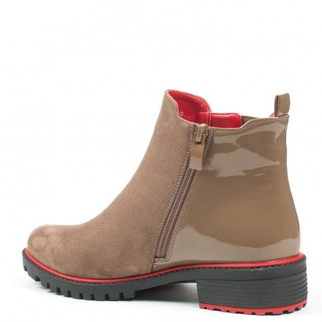Ideal Shoes - Bottines chelsea bi-matière Ramy Beige