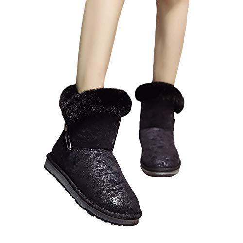 TianWlio Boots Stiefel Schuhe Stiefeletten Frauen Herbst Winter Lässige Leopard Drucken Runde Zehe Brot Baumwolle Schuhe Halten Warme Schneestiefel Weihnachten Schwarz 37