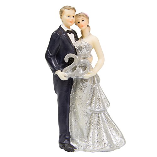 Figure Wedding Couple Couple Silver Wedding 25 Years Cake Cake Wedding Party Decoration