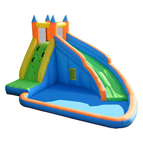 GYMAX. Bouncy Castle, Inflatable Slide Bouncer with Water Pool, Long Slide, Climbing Wall, Including Carry Bag, Repairing Kit, Stakes for Kids Children