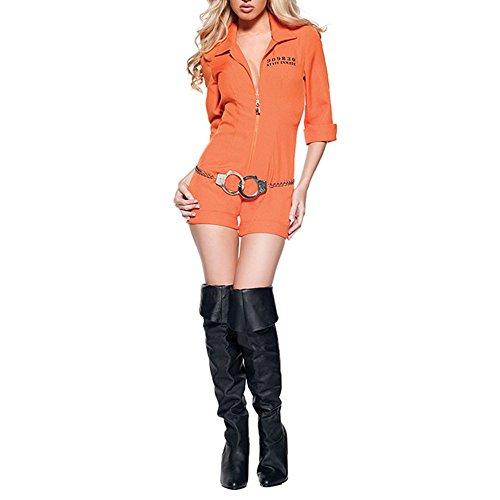 Moojm Frauen Gefangene Rollenspiel Cosplay Uniform Horror-Häftling Outfit Solide Farbe Fantasie Für Halloween-Party-Kostüm