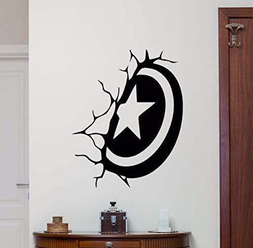 Capitán américa escudo etiqueta de la pared superhéroe etiqueta de vinilo decoración de la pared para el dormitorio extraíble estilo de dibujos animados arte de los niños poster 42x53 cm