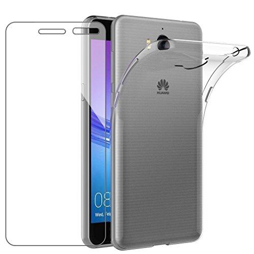 comprare on line f0388 57bce EasyBee Cover per Huawei Nova Young/Y5 2017 + Pellicola Protettiva in Vetro  Temperato, Cover Huawei Y5 2017 Trasparente Sottile Morbida Silicone TPU ...