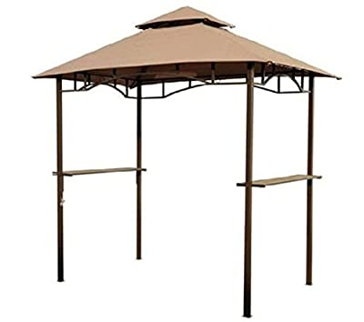 Modern Coffee 8ft DoubleTier BBQ Gazebo with Two Storage Surfaces, Stylish Double Layered Canopy Cover, Bottle Opener and 2 Iron Meshes - Ideal Accompaniment for your Grill or Outdoor Kitchen.