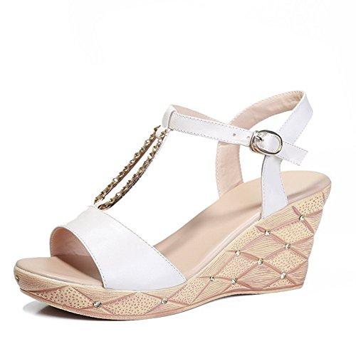 Adee pour femme open-toe Boucle en cuir Sandales Blanc - blanc