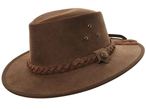 Chapeau style cowboy du bush australien superbe qualité 100 % cuir véritable couleur chocolat ou marron clair, tailles S, M, L et XL - Marron - (57 cm