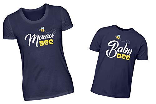 Mutter Sohn Tochter Partnerlook Tshirt Set Mama Bee Und Baby Bee Lustiges Imker Shirt Design Für Mama Und Kind (M & 3/4 ()