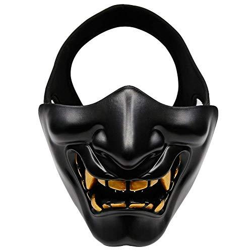 rsoft halbe Gesichtsmasken, böse Dämon Monster Kabuki Samurai Hannya Oni halbe Gesichtsschutzmasken für Maskenball, Party, Halloween, Cs Kriegsspiel, BB Gun (Schwarz) ()