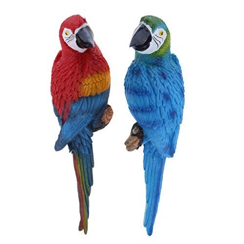 Homyl 2 Stück Papagei Ara Zaunfigur Gartenfigur Zaunhocker und Zaungast Balkon, Terrasse, Zaun, Wand, Baum Dekoration