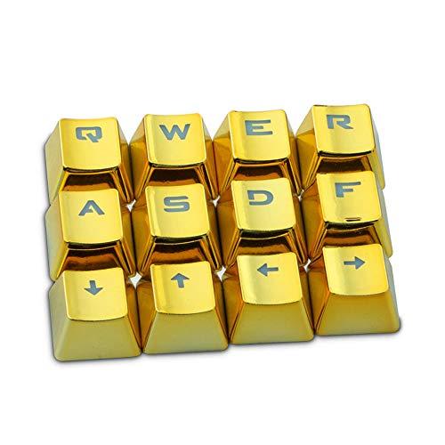 Gaddrt Tastenkappen 12 Tasten PBT Backlit Translucent Metallic Electroplated Keycaps für Cherry MX Keyboard Tastenkappen (Gold)