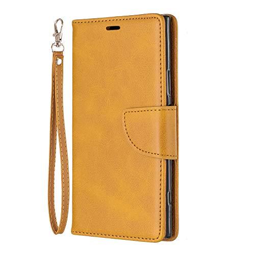 Docrax Handyhülle Lederhülle für Sony Xperia XZ1, Flip Case Schutzhülle Hülle mit Standfunktion Kartenfach Magnet Brieftasche für Sony Xperia XZ1 - DOBFE150604 Gelb