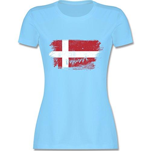 Handball WM 2019 - Dänemark Vintage - XL - Hellblau - L191 - Damen T-Shirt Rundhals