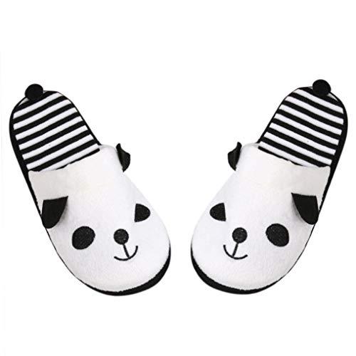 HhGold Schuhe, schöne Cartoon Panda Hause Boden weiche Streifen Hausschuhe weibliche Schuhe 36-40 (40, weiß) (Farbe : Weiß, Größe : 38) -