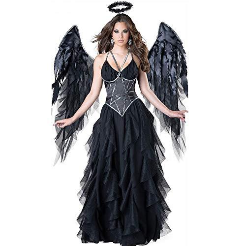 Dunkle Kostüm Flügel - SE Costume Kostüm-9038 Damen Halloweenkostüm Dunkler Engel Cosplay Inklusive Stirnband + Flügel + Langer Rock