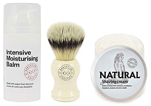 Executive Shaving Kunstfaser Borste Rasierpinsel mit Natürlichen Rasieren Cremefarben und Intensiv Feuchtigkeits Balsam (Simpson Rasierschaum)