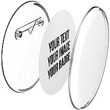 Chapas plásticas con alfiler incluido (a presión) hágalo usted mismo, sin necesidad de máquina (Ø 56 mm, 50 piezas) - Conjunto de chapas con alfiler y papel- pre cortado A4