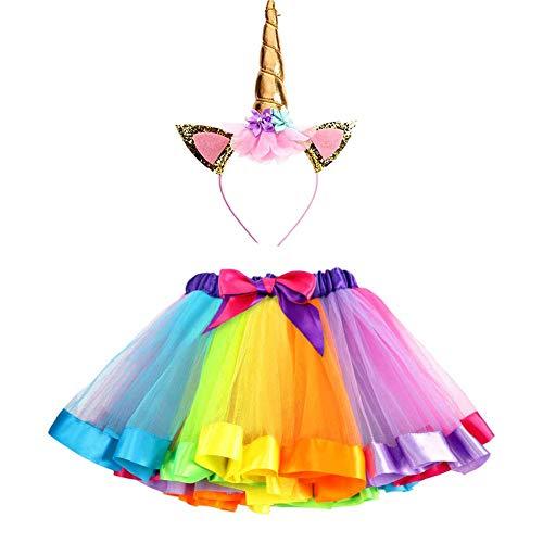 Ruiuzi Glitzerndes Einhorn-Tutu Regenbogenrock und Einhorn-Stirnband Outfit für Mädchen Geburtstag Party Kostüme Set, Regenbogenfarben, - Teenager Engel Kostüm