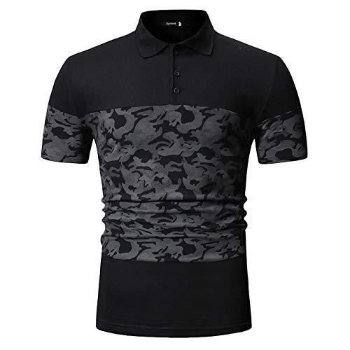 SPONSOKT Mens Dress Shirts Sommer Neue Freizeitmode MäNner Sport Camouflage NäHte Revers Kurzarm T-Shirt,Schwarz,M