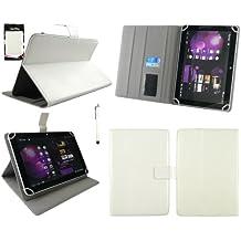 Emartbuy® Teclast X98 Air 3G 9.7 Inch Tablet Universal Range Blanco Ángulo Múltiples Executive Folio Funda Carcasa Wallet Case Cover Con Tarjeta de Slots + Blanco Lápiz Óptico
