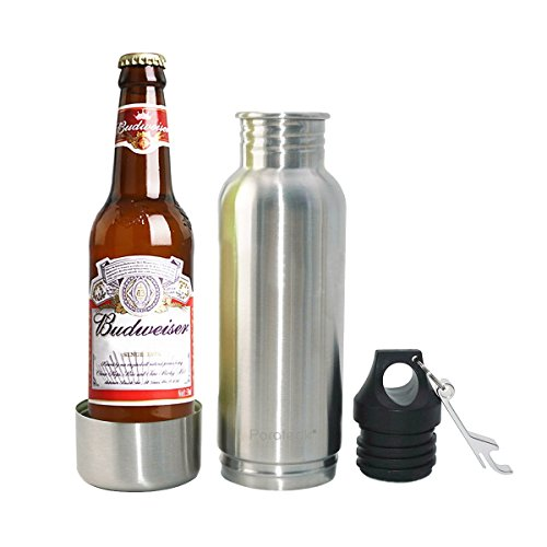 1 : Parateck Stainless Steel Beer Bottle Holder for 12oz Tall Skinny Bottle with Cooler Bottle Opener 12 oz (1)