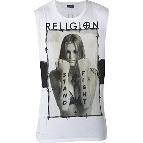 "RELIGION Clothing Herren T-Shirt Shirt Vest Tanktop ""STAND & FIGHT"" Weiß"