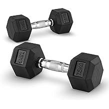 Capital Sports Hexbell 7,5 Mancuernas 7,5kg (Par de pesas cortas de