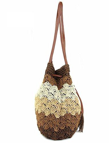 Tote di acquisto della borsa da viaggio della spiaggia della spiaggia delle donne della tazza di strato della cinghia della spalla della spalla della spalla della spalla della spalla , deep blue coffee