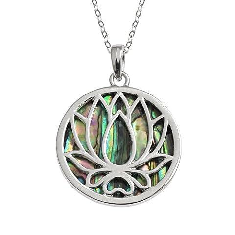 Kiara Schmuck wendbar Lotus Blume Anhänger Halskette mit Blaue grün intarsiert Paua Abalone Shell auf 45,7 cm Trace Kette. Silber Farbe, Rhodiniert, Anlauf Geschützt.