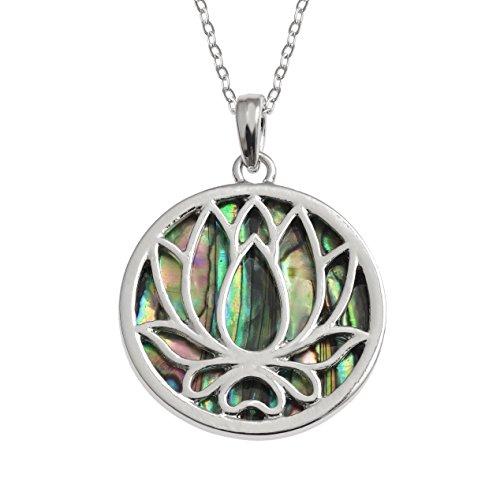 Kiara Schmuck wendbar Lotus Blume Anhänger Halskette mit -
