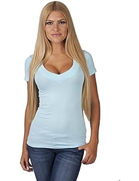 Hollywood Star Fashion, maglietta da donna, con profondo scollo a V, a maniche corte