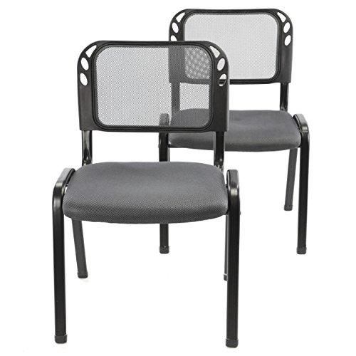 Nexos 2er Set Bürostuhl Konferenzstuhl Besucherstuhl Grau Gepolsterte Sitzfläche stapelbar 52,5 x...
