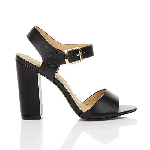 Femmes haute talon fête élégant boucle à lanières sandales chaussures pointure Noir Mat