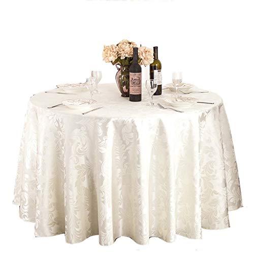 Tischdecke rund, Hotelgewebe aus Polyestergewebe Hotel Tischdecke Tisch Rock Restaurant Couchtisch Tischdecke weiß (Color : White, Size : Round 1.6m)