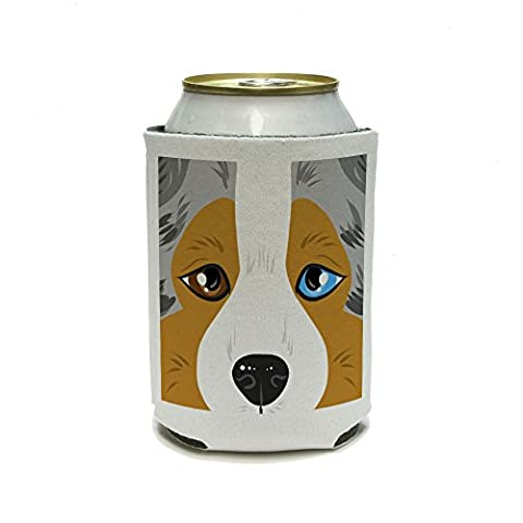 Australian Shepherd Face - Aussie Close up Pet Dog Can Cooler - Drink Insulator - Beverage Insulated Holder