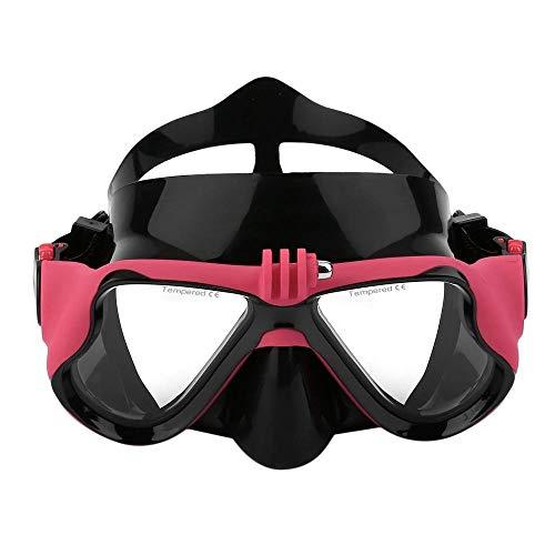 Professionelle Unterwasserkamera Plain Diving Mask Scuba Schnorchel Schwimmbrille Geeignet Für Standard -Sportkamera,Red