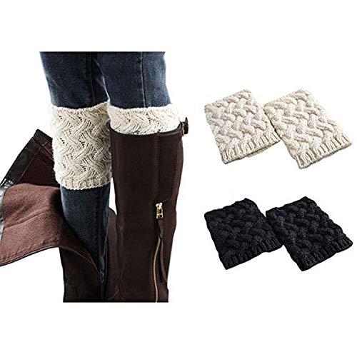 Stulpen Socken - Winter Kurze Stricken Stulpen Gestrickte Beinwärmer Leg Warmers Socken Stiefel Boot Abdeckung, Schwarz+weiß, M ()
