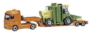 Schuco 452203700 Mercedes-Benz Actros y Krone BiGM 400 - Tractora con semirremolque en Color Naranja y Tractor en Color Verde a Escala 1:87