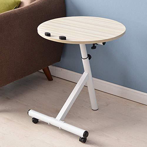 Ahorn Runde Tisch (SED Multifunktions Kleine Tabelle Haushalt Side Laptop Schreibtisch Einstellbare Tragbare Ständer Laptop Runde Ecke Schlafzimmer Einfache Studie Tisch,Weißer Ahorn)
