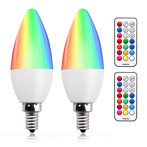 Bonlux Lampadine Colorata LED E14 RGB Colori 3W Dimmerabile,Lampadina a Candela C35 E14 LED Luce Colorata 12 Colori Telecomando,Funzione di Memoria e Cronometraggio per Casa,Festa(2pz)