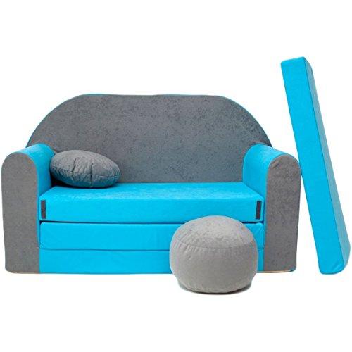 WELOX b1 Kindersofa Bettfunktion 3in1-Kindersessel Ausziehbett hellblau/grau Eierschalenfarbe