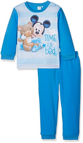 Disney Baby-Jungen Schlafstrampler Mickey Mouse Time For Bed Blau, 92