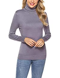 Aibrou Jersey de Mujer Sólido Ligero Suave Elástico Manga Larga Suéter Jersey de Cuello Alto(1# Negro L)