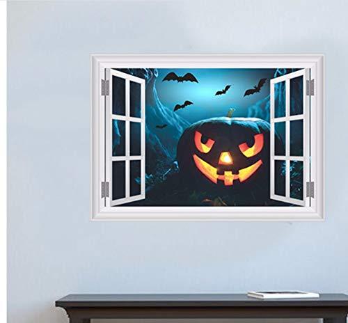 Gefälschte Fenster Angst Bat Sky Kürbis Kopf Wandaufkleber Für Halloween Party Dekoration Wohnzimmer Bar Club Wandtattoos 3D