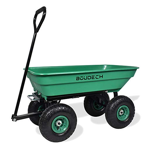 carrello da giardino porta attrezzi ribaltabile con rimorchio a spinta in metallo inossidabile - carriola da giardino a 4 ruote con portata max 250kg