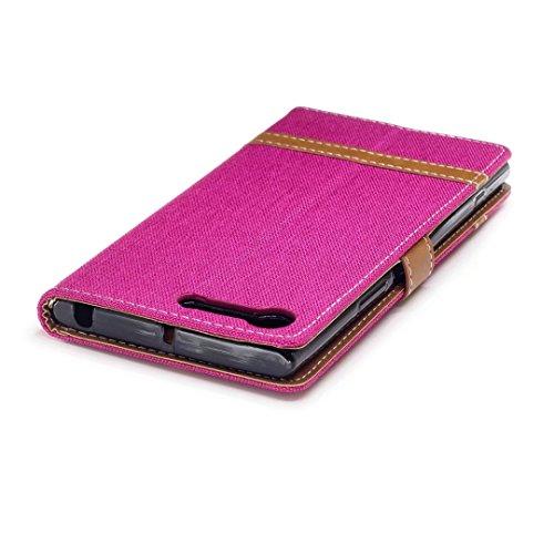 Lemorry Sony Xperia X1 Custodia Pelle Cuoio Flip Portafoglio Borsa Sottile Bumper Protettivo Magnetico Morbido Silicone Tpu Cover Per X1 Stile Del Denim Blu Scuro Rosa