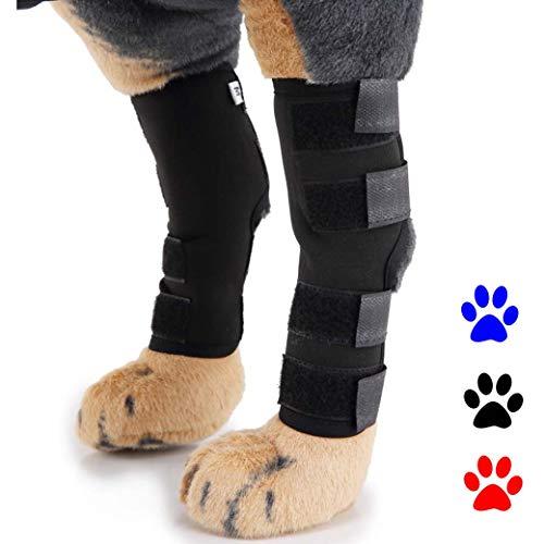 Pet Ginocchiere Cane Leggings, Pet Dog Ginocchiere Dog Leg Supporto, Posteriori Gambali Recupero Lesioni, Guaina Chirurgica della Ferita,Black,S
