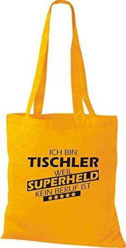 Shirtstown Stoffbeutel Ich bin Tischler, weil Superheld kein Beruf ist goldgelb