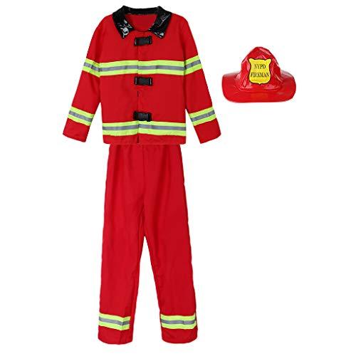 P PRETTYIA Kinder Feuerwehr-Uniform Halloween Feuerwehrmann Kostüm mit -
