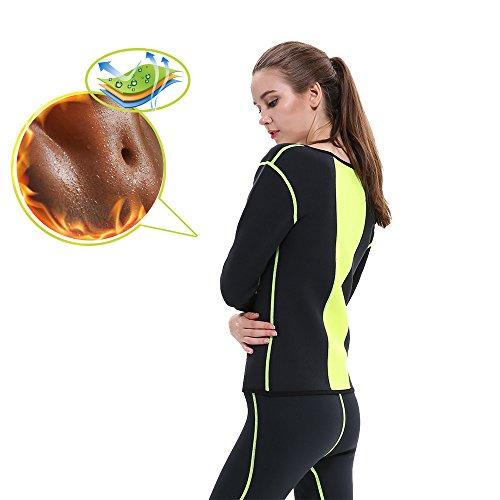 goldfin Damen Neopren Sauna Anzug für Gewicht Verlust lang Ärmel Body Shaper Schweiß Slimming Top Hemd,, Black+Yellow -